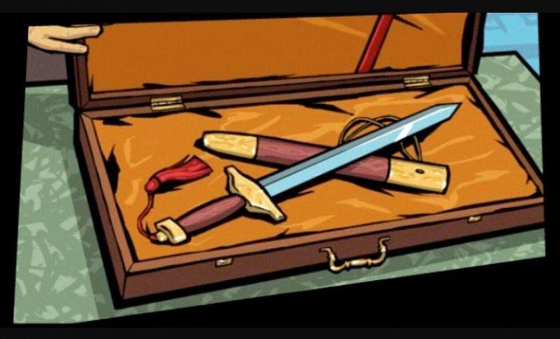 The Yu Jian sword is critically important in GTA Chinatown Wars (Image via Rockstar Games)
