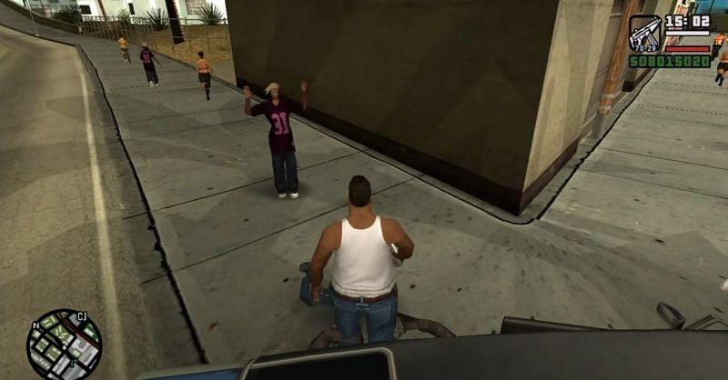 Fat CJ, tel qu'il apparaît dans GTA San Andreas (Image via Rockstar Games)