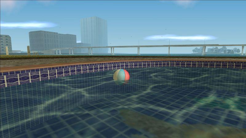 C'est le ballon de plage que Tommy Vercetti peut faire rebondir sur sa tête (Image via Rockstar Games)