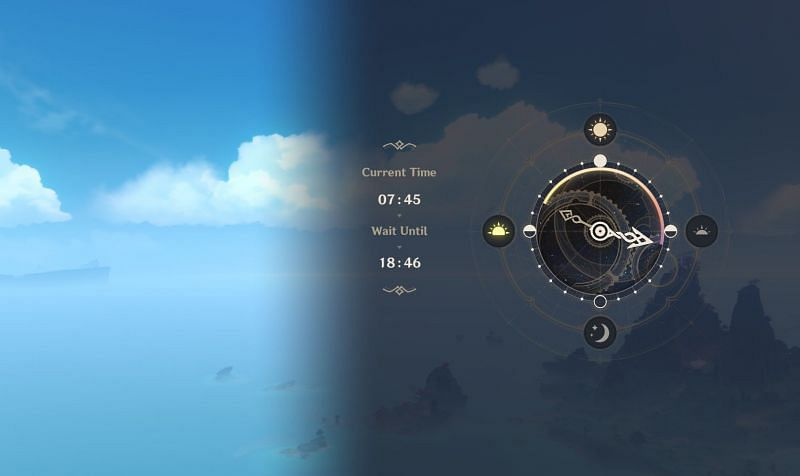 Genshin Impact players can skip time using this menu (Image via Genshin Impact)