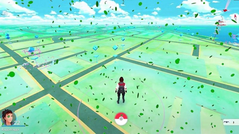Green confetti was once seen to celebrate a Grass Pokemon related event (Image via Niantic)