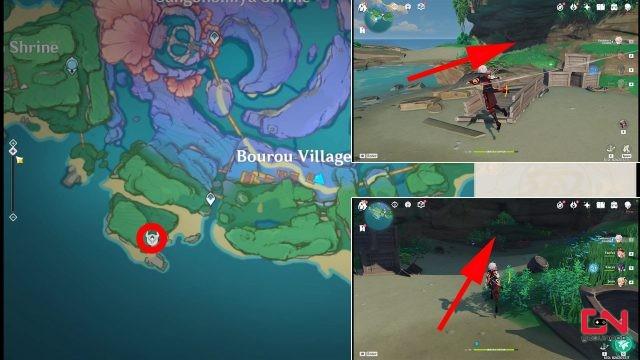 où trouver l'emplacement de la grotte de komaki impact genshin de la malchance