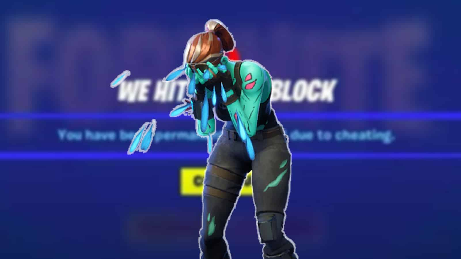 Fornite character crying in front of permaban screen